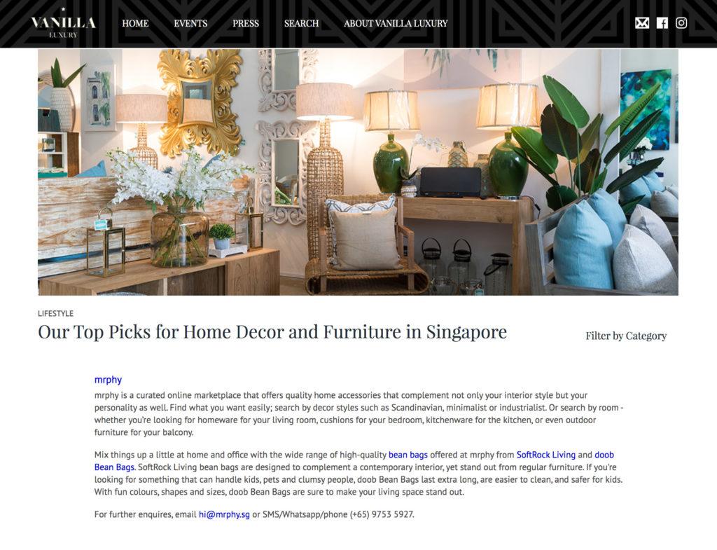 mrphy vanilla luxury press softrock living bean bags singapore artisan